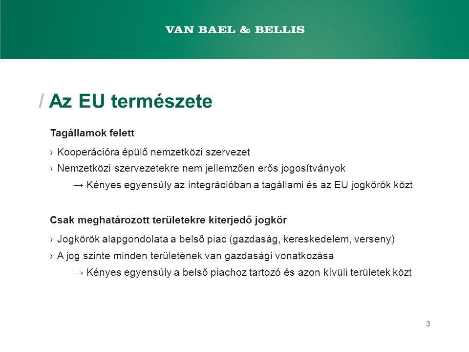 / Az EU természete Tagállamok felett ›Kooperációra épülő nemzetközi szervezet ›Nemzetközi szervezetekre nem jellemzően erős jogosítványok → Kényes egy