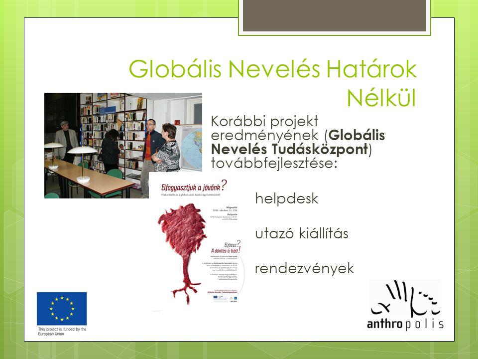 Globális Nevelés Határok Nélkül Korábbi projekt eredményének ( Globális Nevelés Tudásközpont ) továbbfejlesztése: helpdesk utazó kiállítás rendezvénye