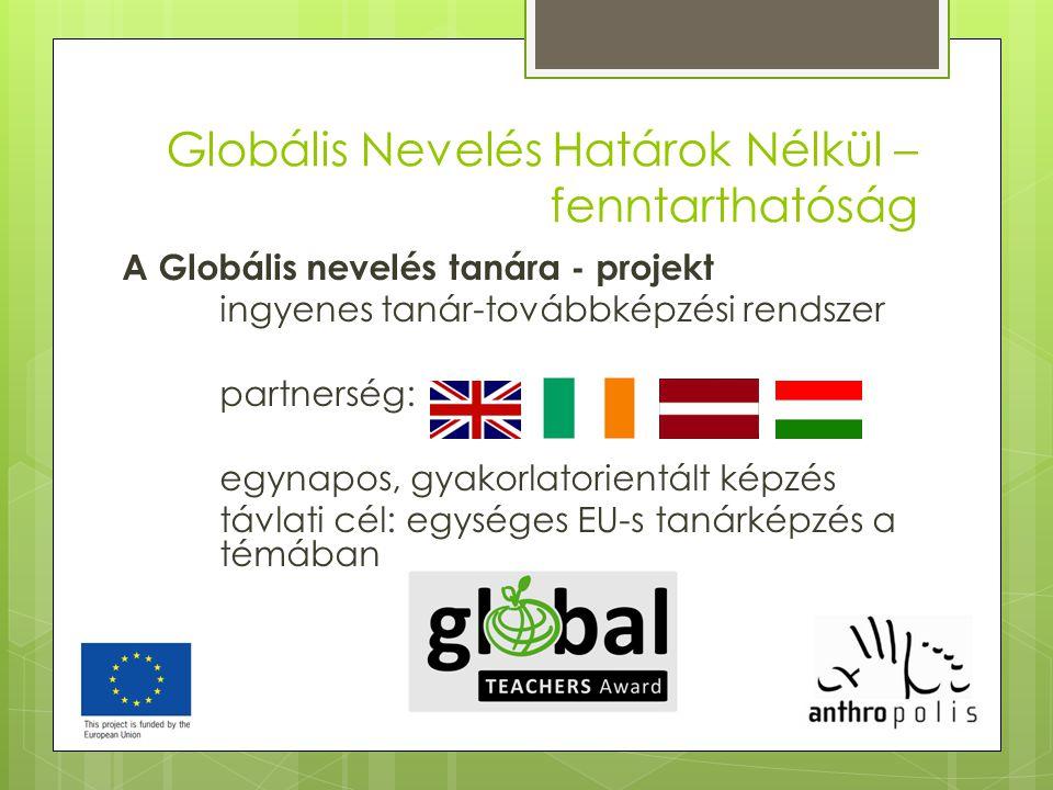 Globális Nevelés Határok Nélkül – fenntarthatóság A Globális nevelés tanára - projekt ingyenes tanár-továbbképzési rendszer partnerség: egynapos, gyak