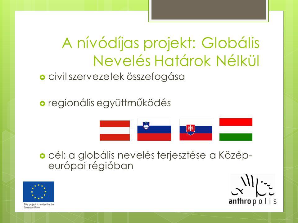 A nívódíjas projekt: Globális Nevelés Határok Nélkül  civil szervezetek összefogása  regionális együttműködés  cél: a globális nevelés terjesztése