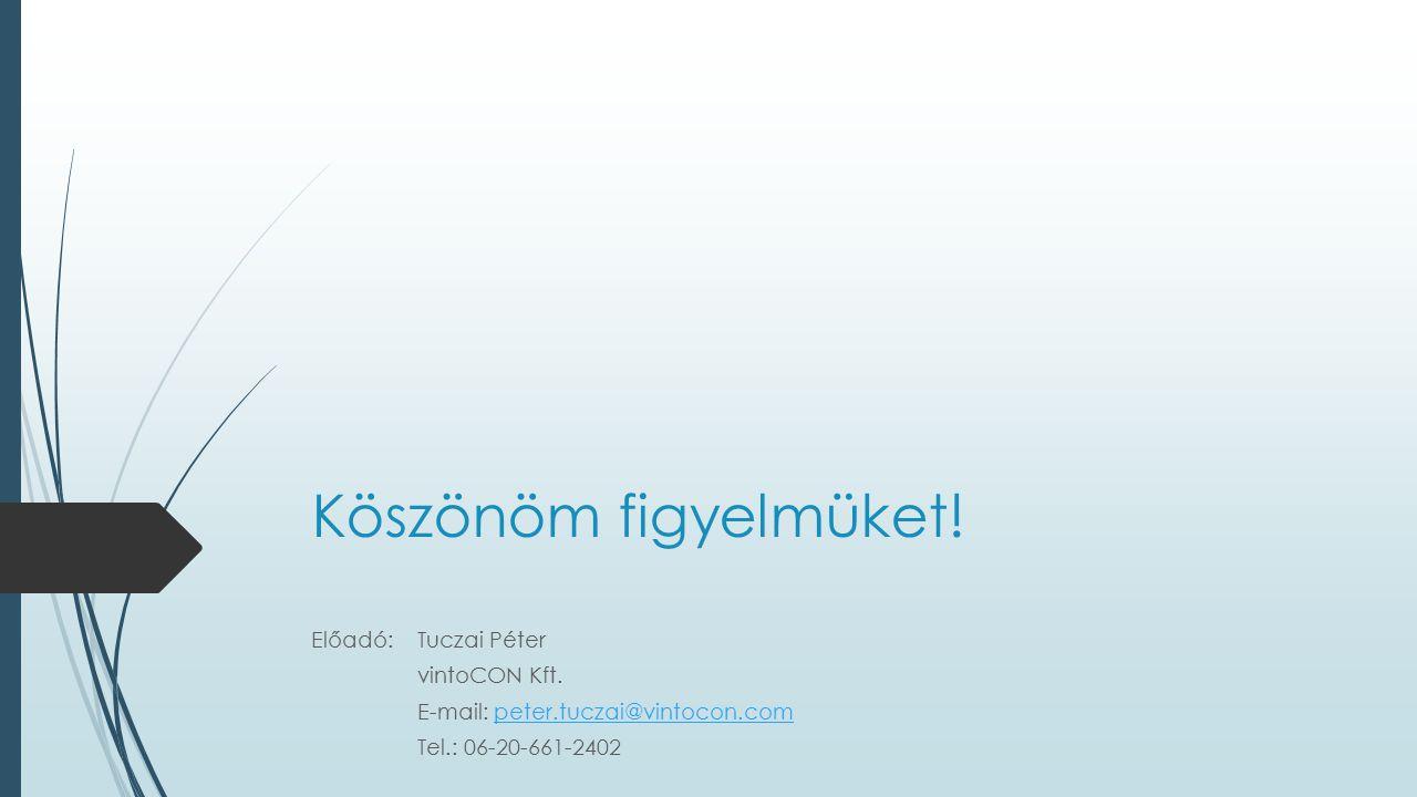 Köszönöm figyelmüket! Előadó: Tuczai Péter vintoCON Kft. E-mail: peter.tuczai@vintocon.competer.tuczai@vintocon.com Tel.: 06-20-661-2402