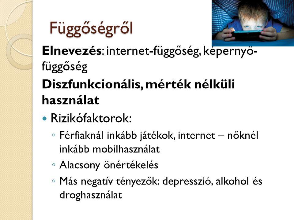 Függőségről Elnevezés: internet-függőség, képernyő- függőség Diszfunkcionális, mérték nélküli használat Rizikófaktorok: ◦ Férfiaknál inkább játékok, internet – nőknél inkább mobilhasználat ◦ Alacsony önértékelés ◦ Más negatív tényezők: depresszió, alkohol és droghasználat