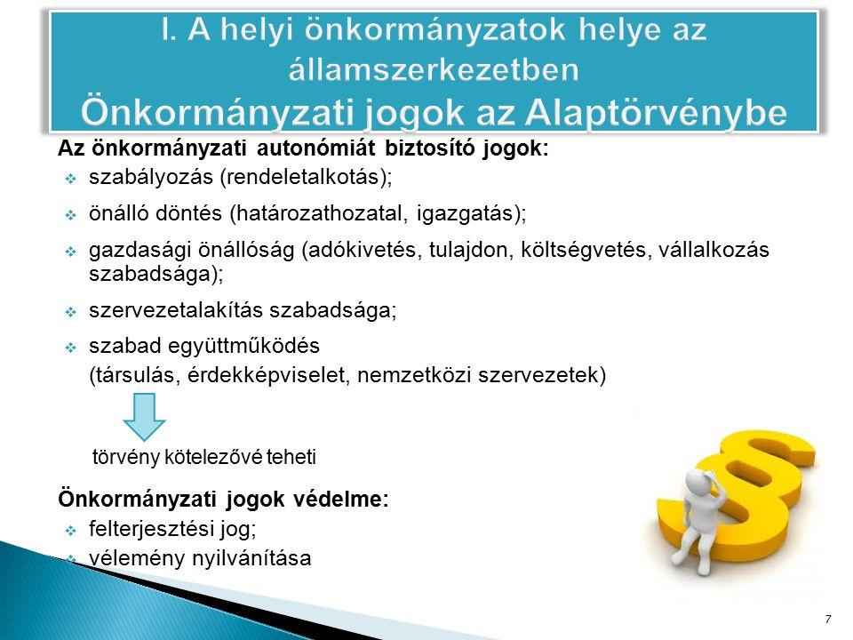 Az önkormányzati autonómiát biztosító jogok:  szabályozás (rendeletalkotás);  önálló döntés (határozathozatal, igazgatás);  gazdasági önállóság (adókivetés, tulajdon, költségvetés, vállalkozás szabadsága);  szervezetalakítás szabadsága;  szabad együttműködés (társulás, érdekképviselet, nemzetközi szervezetek) törvény kötelezővé teheti Önkormányzati jogok védelme:  felterjesztési jog;  vélemény nyilvánítása 7