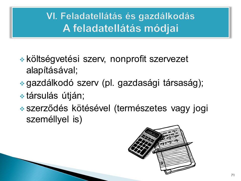  költségvetési szerv, nonprofit szervezet alapításával;  gazdálkodó szerv (pl.