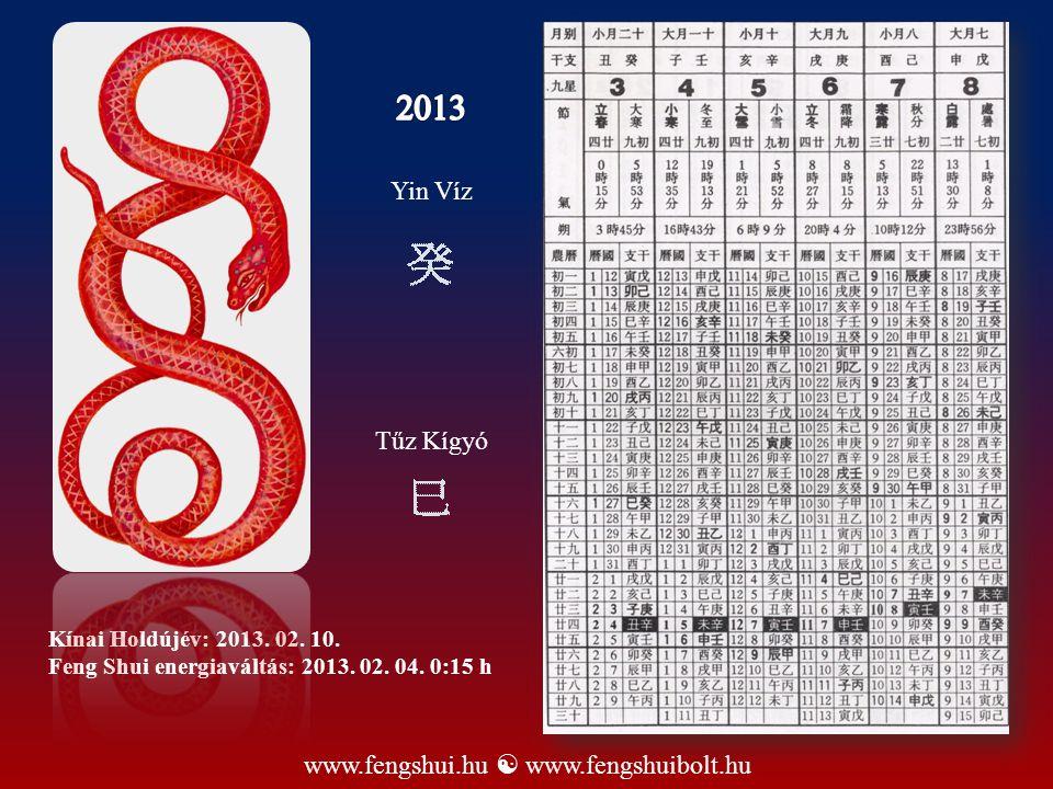Kínai Holdújév: 2013. 02. 10. Feng Shui energiaváltás: 2013. 02. 04. 0:15 h www.fengshui.hu  www.fengshuibolt.hu Yin Víz Tűz Kígyó