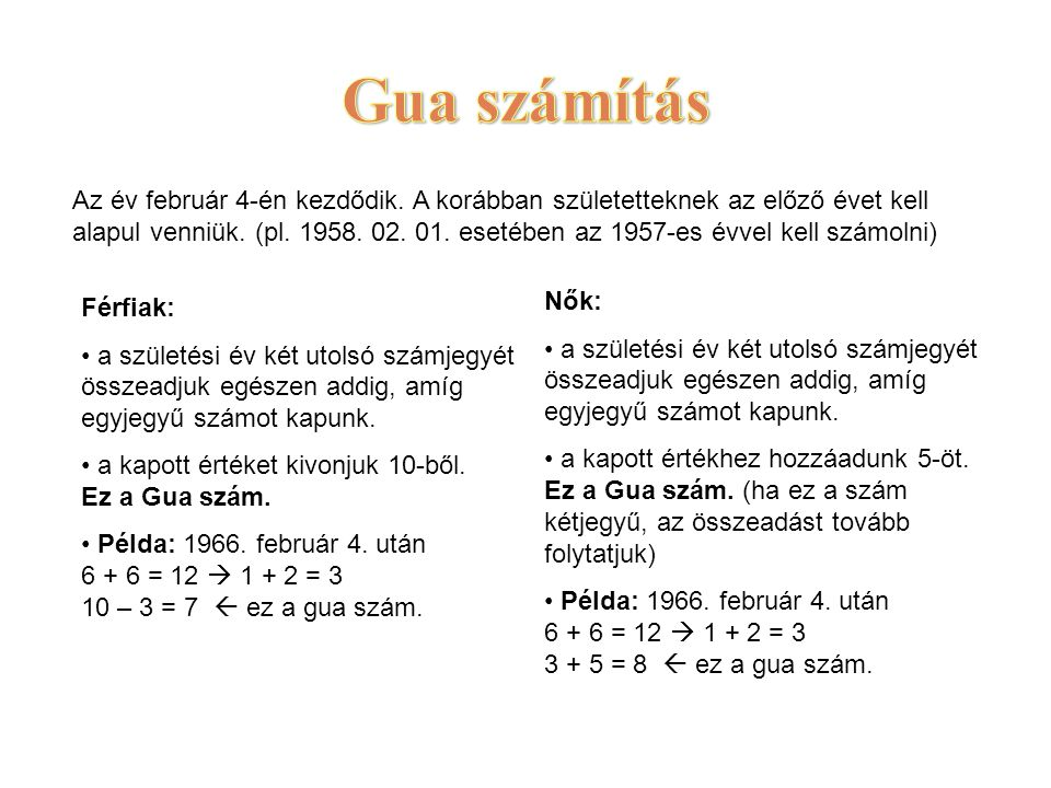 Az év február 4-én kezdődik. A korábban születetteknek az előző évet kell alapul venniük. (pl. 1958. 02. 01. esetében az 1957-es évvel kell számolni)