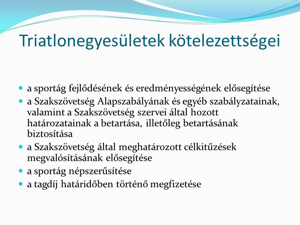 Triatlonegyesületek kötelezettségei a sportág fejlődésének és eredményességének elősegítése a Szakszövetség Alapszabályának és egyéb szabályzatainak,