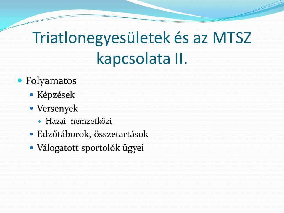 Triatlonegyesületek és az MTSZ kapcsolata II. Folyamatos Képzések Versenyek Hazai, nemzetközi Edzőtáborok, összetartások Válogatott sportolók ügyei