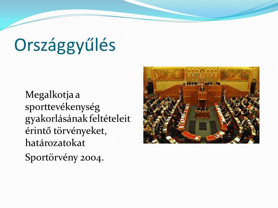 Kormány Kialakítja a hosszú távú sportstratégiát és ennek alapján javaslatot tesz az országgyűlésnek a sporttal kapcsolatos törvények, határozatok megalkotására