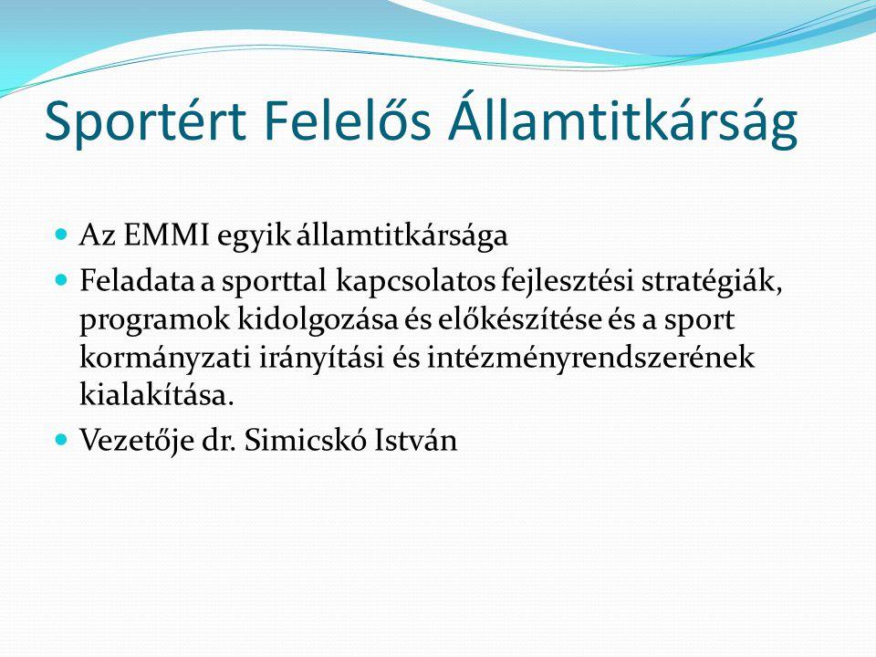 Sportért Felelős Államtitkárság Az EMMI egyik államtitkársága Feladata a sporttal kapcsolatos fejlesztési stratégiák, programok kidolgozása és előkész