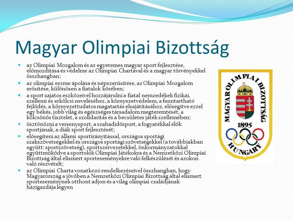 Magyar Olimpiai Bizottság az Olimpiai Mozgalom és az egyetemes magyar sport fejlesztése, előmozdítása és védelme az Olimpiai Chartával és a magyar tör