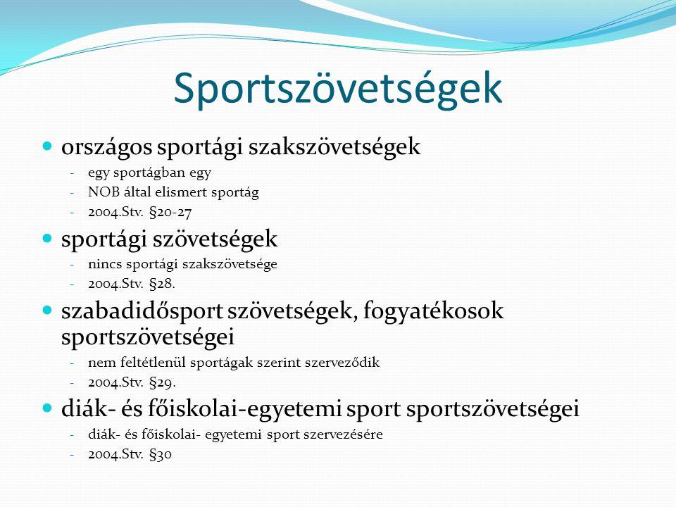Sportszövetségek országos sportági szakszövetségek - egy sportágban egy - NOB által elismert sportág - 2004.Stv. §20-27 sportági szövetségek - nincs s