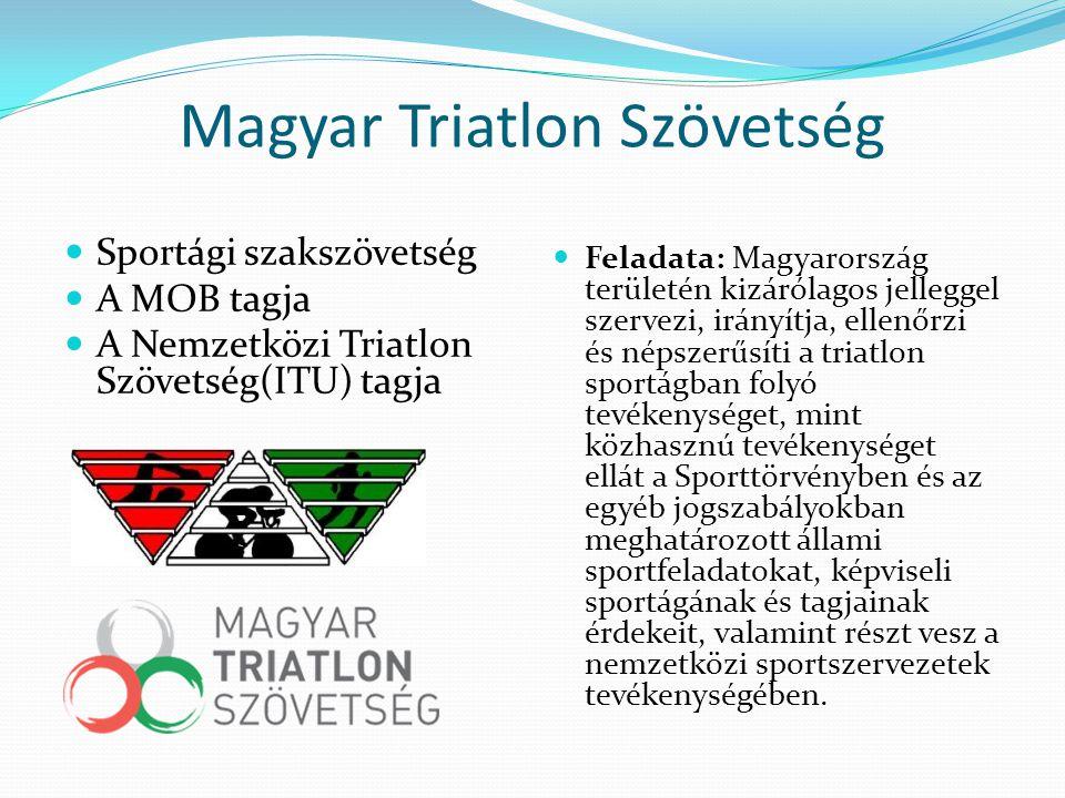 Magyar Triatlon Szövetség Sportági szakszövetség A MOB tagja A Nemzetközi Triatlon Szövetség(ITU) tagja Feladata: Magyarország területén kizárólagos j