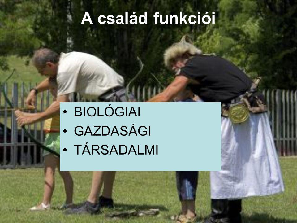 BIOLÓGIAI FUNKCIÓ A biológiai funkció a család önfenntartása és önreprodukciója.