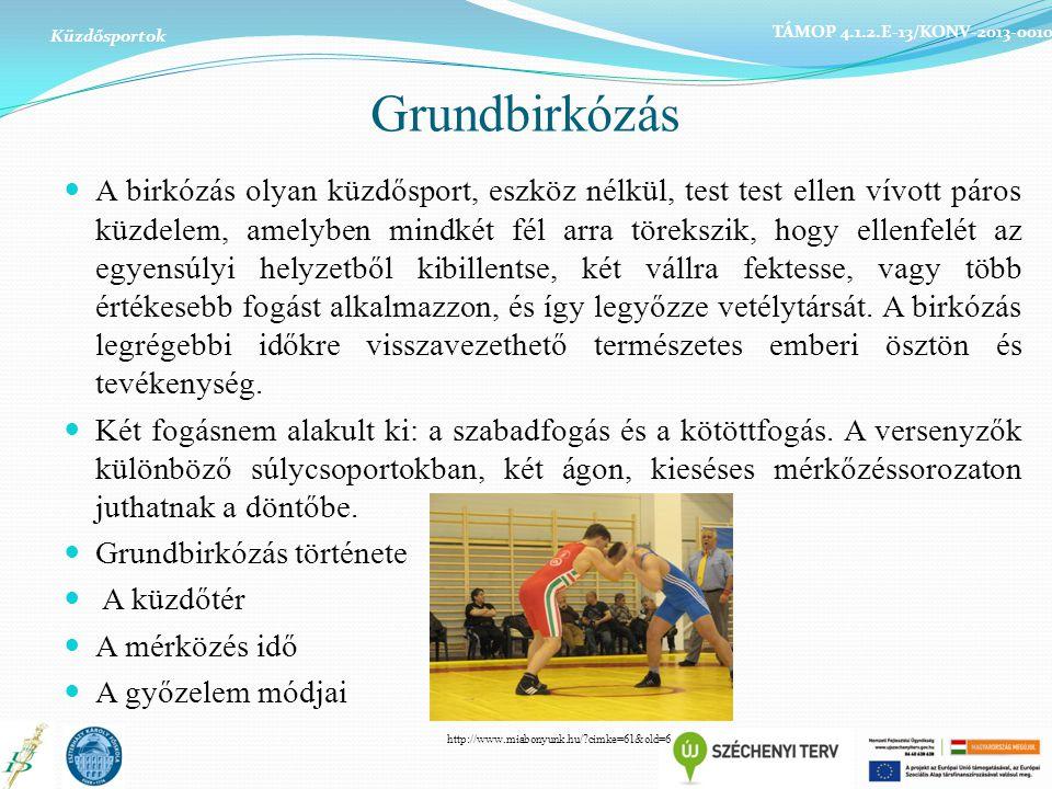Grundbirkózás A birkózás olyan küzdősport, eszköz nélkül, test test ellen vívott páros küzdelem, amelyben mindkét fél arra törekszik, hogy ellenfelét