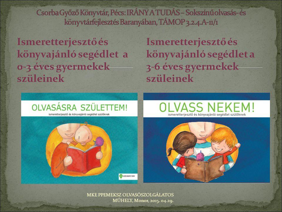 Ismeretterjesztő és könyvajánló segédlet a 0-3 éves gyermekek szüleinek Ismeretterjesztő és könyvajánló segédlet a 3-6 éves gyermekek szüleinek MKE PP