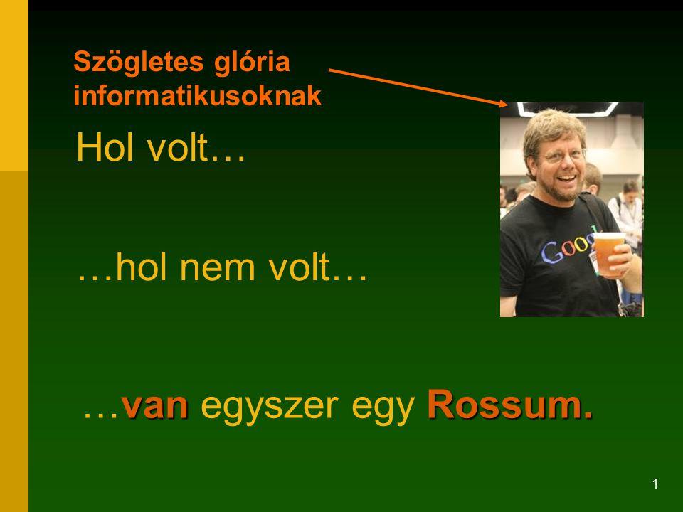 32 Közbevetett vigasztalás a szabad szoftver híveinek, akik az FSF.hu-ról töltik le ezt a prezentációt, és nem PowerPointra számítottak: Guido van Rossum Az FSF-díjas Guido van Rossum is ppt-ket használ http://www.python.org/doc/essays/ppt/