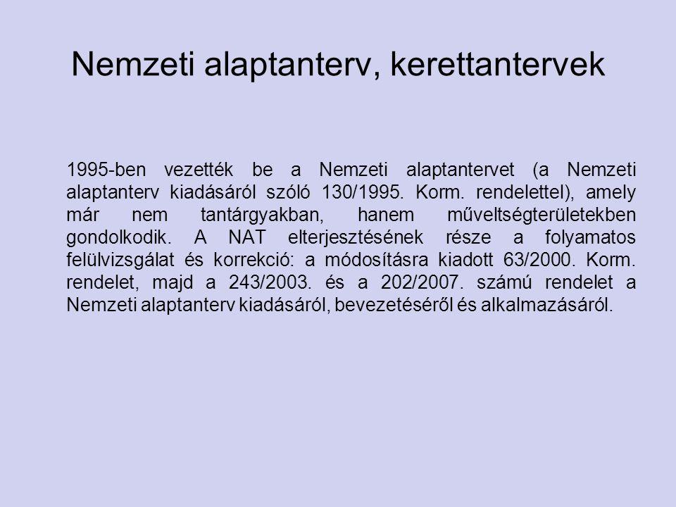 Nemzeti alaptanterv, kerettantervek 1995-ben vezették be a Nemzeti alaptantervet (a Nemzeti alaptanterv kiadásáról szóló 130/1995.