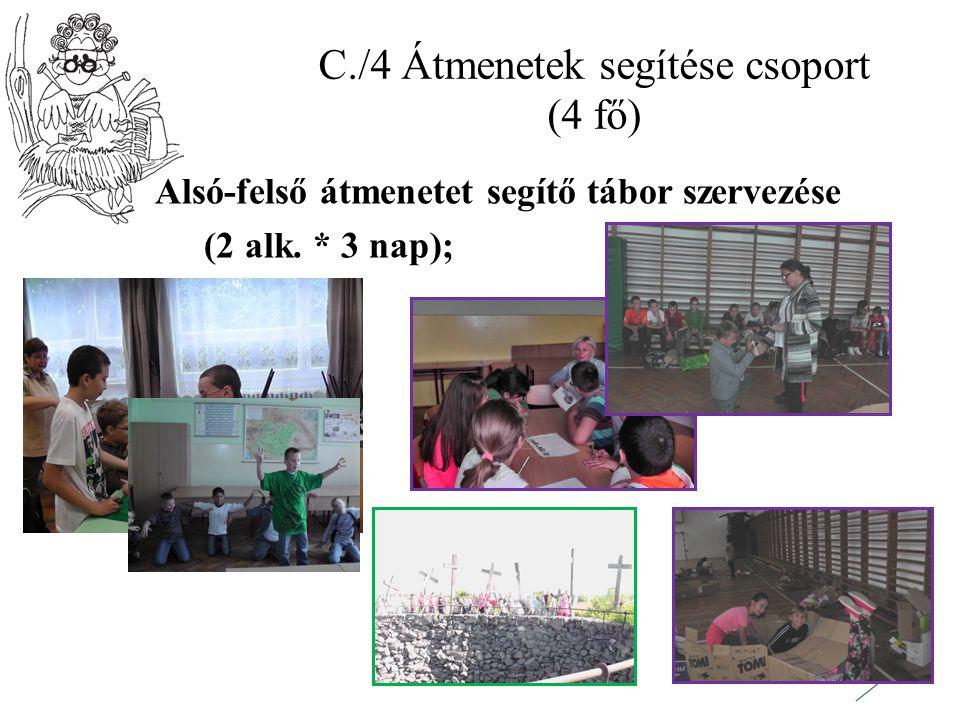 C./4 Átmenetek segítése csoport (4 fő) Alsó-felső átmenetet segítő tábor szervezése (2 alk. * 3 nap);