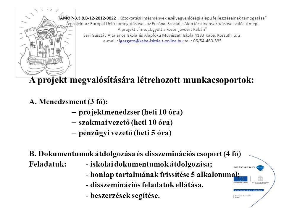 """TÁMOP-3.3.8.B-12-2012-0022 """"Közoktatási intézmények esélyegyenlőségi alapú fejlesztéseinek támogatása"""" A projekt az Európai Unió támogatásával, az Eur"""
