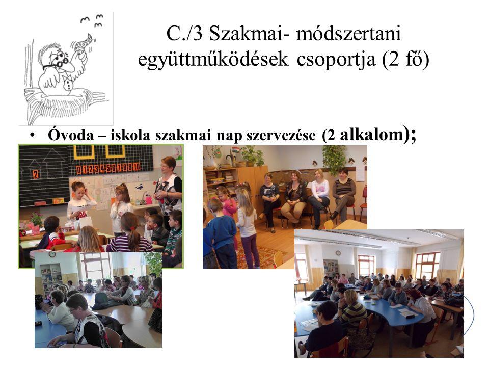 C./3 Szakmai- módszertani együttműködések csoportja (2 fő) Óvoda – iskola szakmai nap szervezése (2 alkalom );