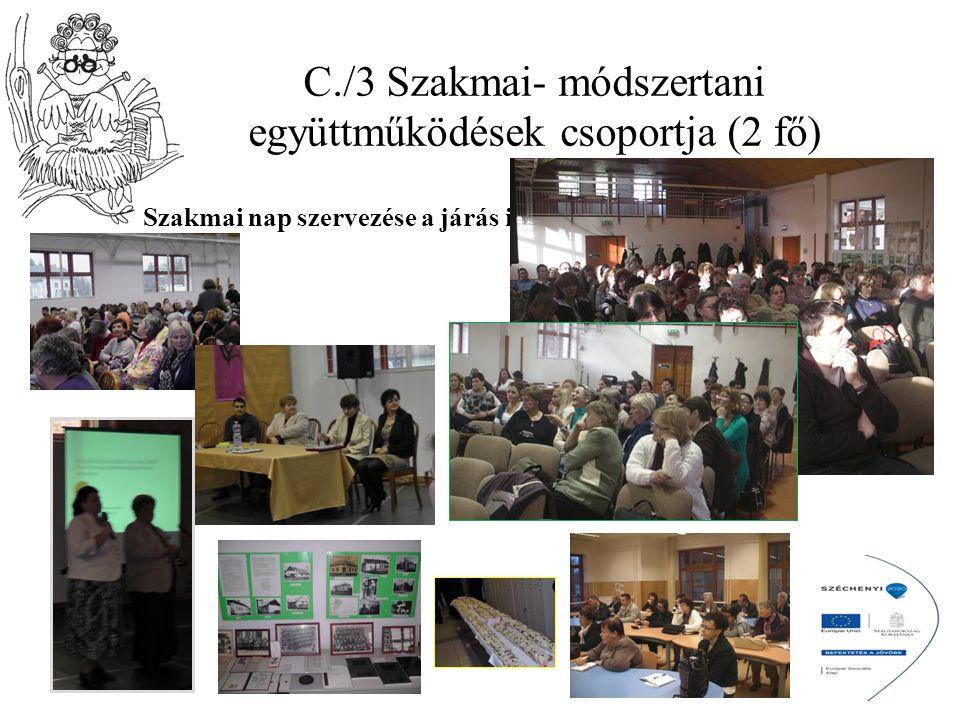 C./3 Szakmai- módszertani együttműködések csoportja (2 fő) Szakmai nap szervezése a járás iskoláinak (2 alkalom);