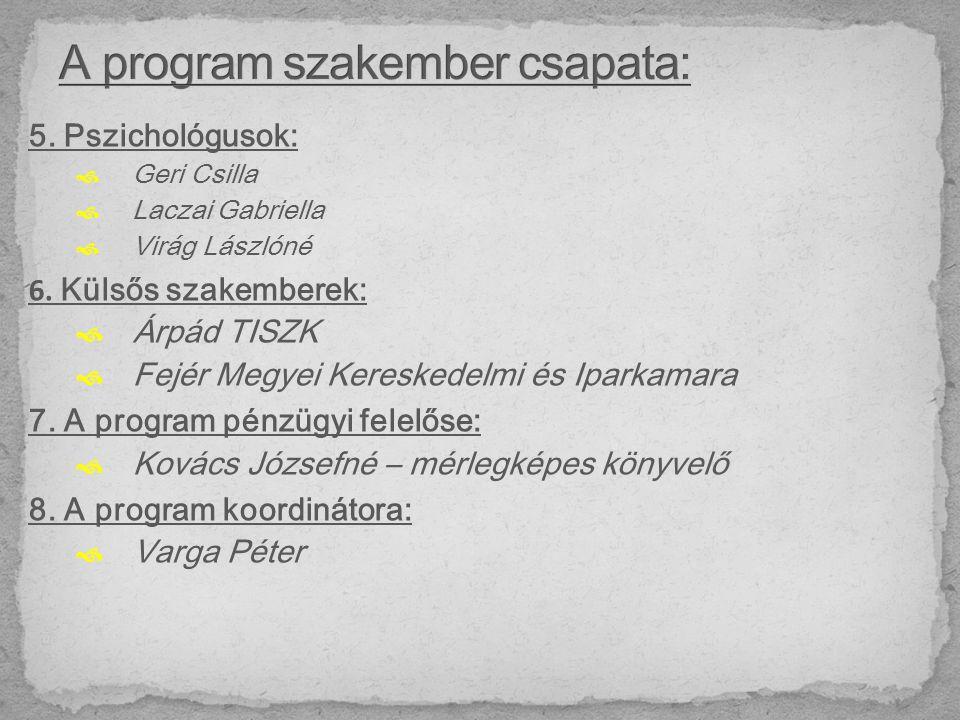 5. Pszichológusok:  Geri Csilla  Laczai Gabriella  Virág Lászlóné 6.