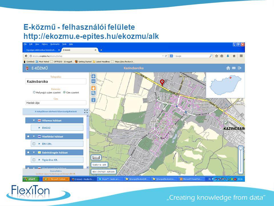 E-közmű - felhasználói felülete http://ekozmu.e-epites.hu/ekozmu/alk
