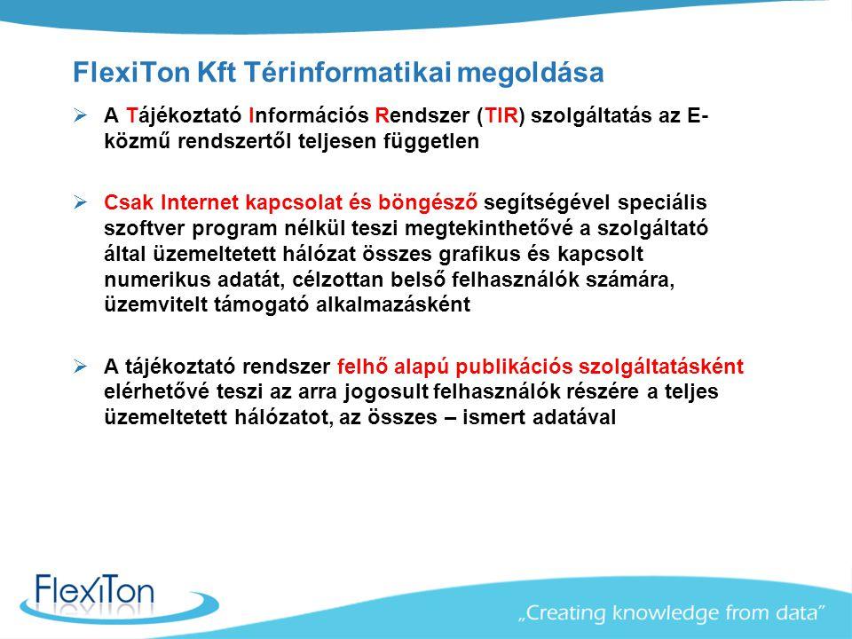 FlexiTon Kft Térinformatikai megoldása  A Tájékoztató Információs Rendszer (TIR) szolgáltatás az E- közmű rendszertől teljesen független  Csak Inter