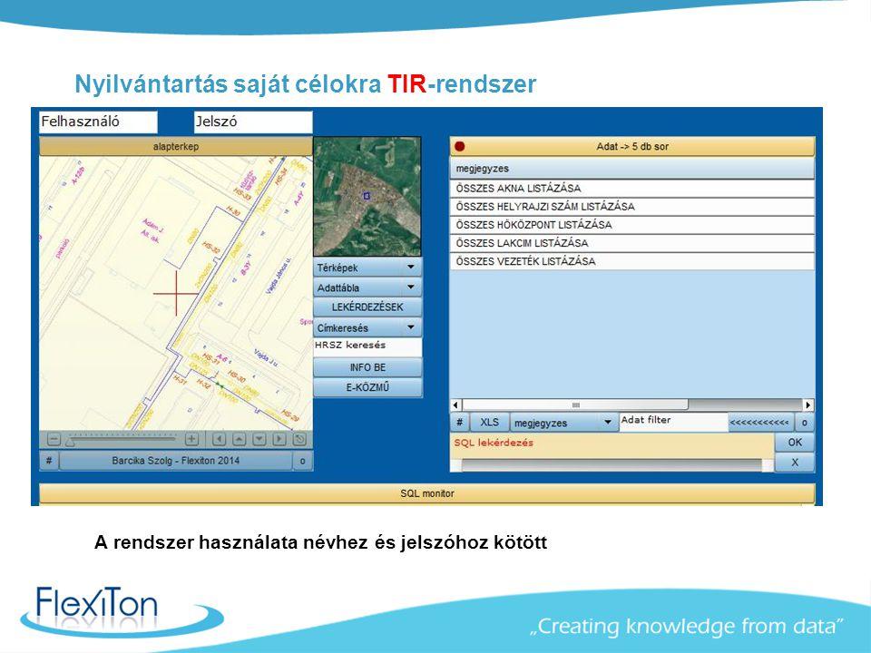 Nyilvántartás saját célokra TIR-rendszer A rendszer használata névhez és jelszóhoz kötött