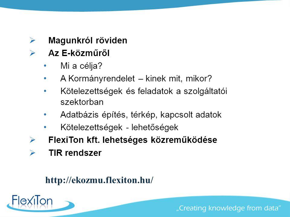 A FlexiTon kft., mint az Önök lehetséges partnere  25 éves magyar informatikai cég vagyunk  Magyarországon 1.300 település digitális térképeit készítettük el  Külföldön 80 ország, 140 Magyarországnyi térkép készült  30 országba szállítottunk távközlési szolgáltatók számára különféle nyilvántartó rendszereket  Több tucat felhő alapú szolgáltatást nyújtunk jelenlegi ügyfeleinknek, különböző alkalmazásokra:  E-közmű szolgáltatások  Üzemeletetés támogató rendszerek közműszolgáltatóknak  Településüzemeltetési térinformatikai rendszerek  Temető nyilvántartó rendszerek  Üzleti intelligencia megoldások