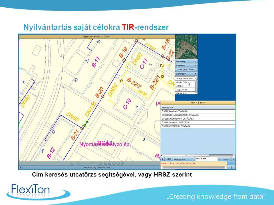 Nyilvántartás saját célokra TIR-rendszer Cím keresés utcatörzs segítségével, vagy HRSZ szerint