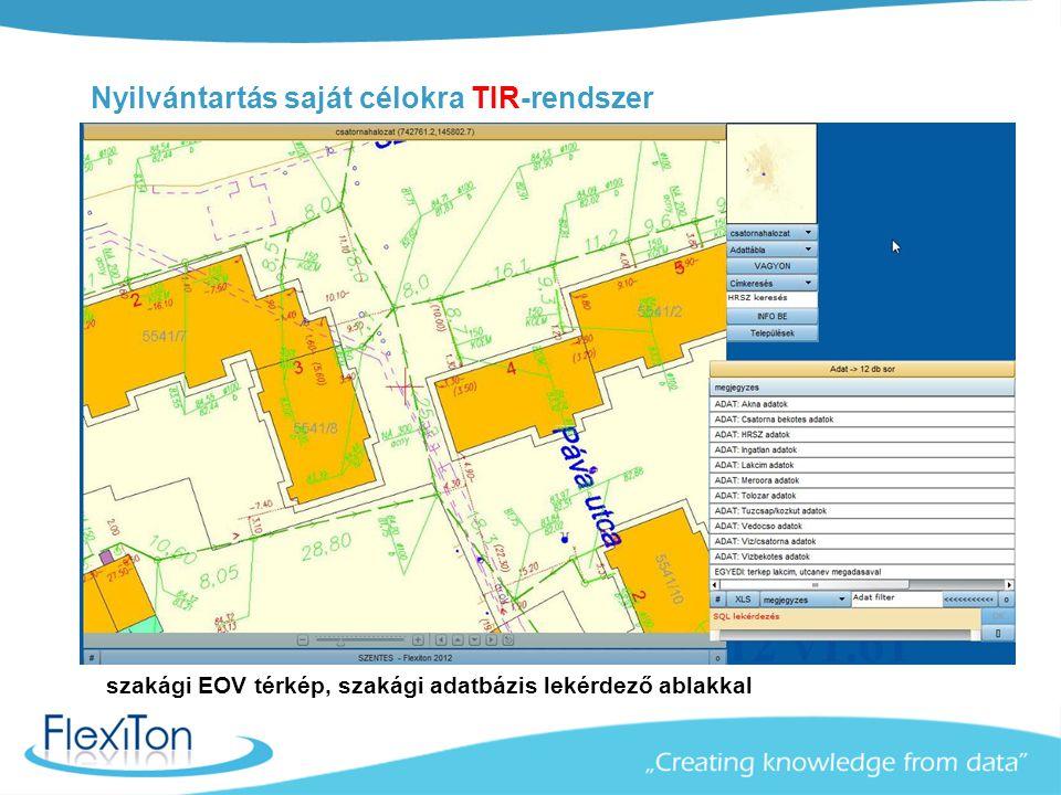 Nyilvántartás saját célokra TIR-rendszer szakági EOV térkép, szakági adatbázis lekérdező ablakkal