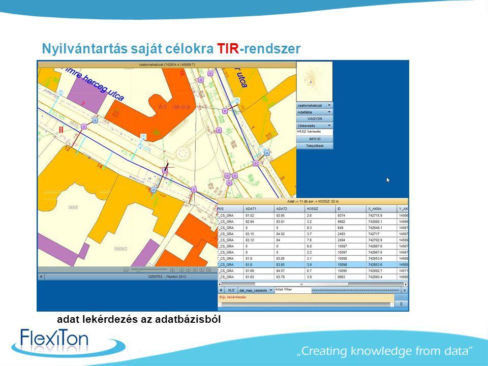 Nyilvántartás saját célokra TIR-rendszer adat lekérdezés az adatbázisból