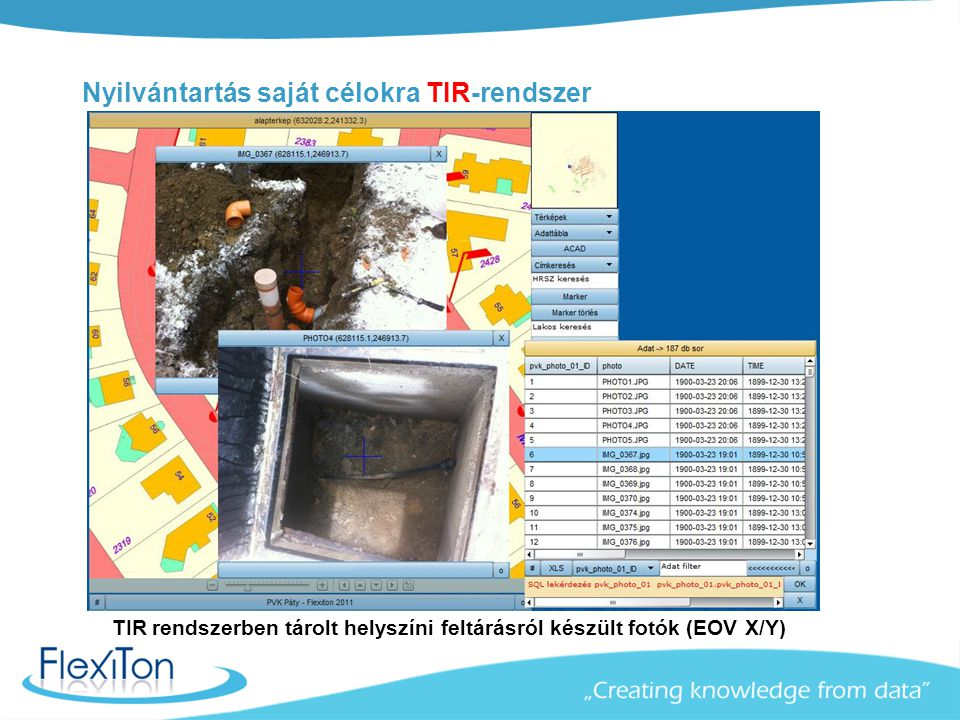 Nyilvántartás saját célokra TIR-rendszer TIR rendszerben tárolt helyszíni feltárásról készült fotók (EOV X/Y)