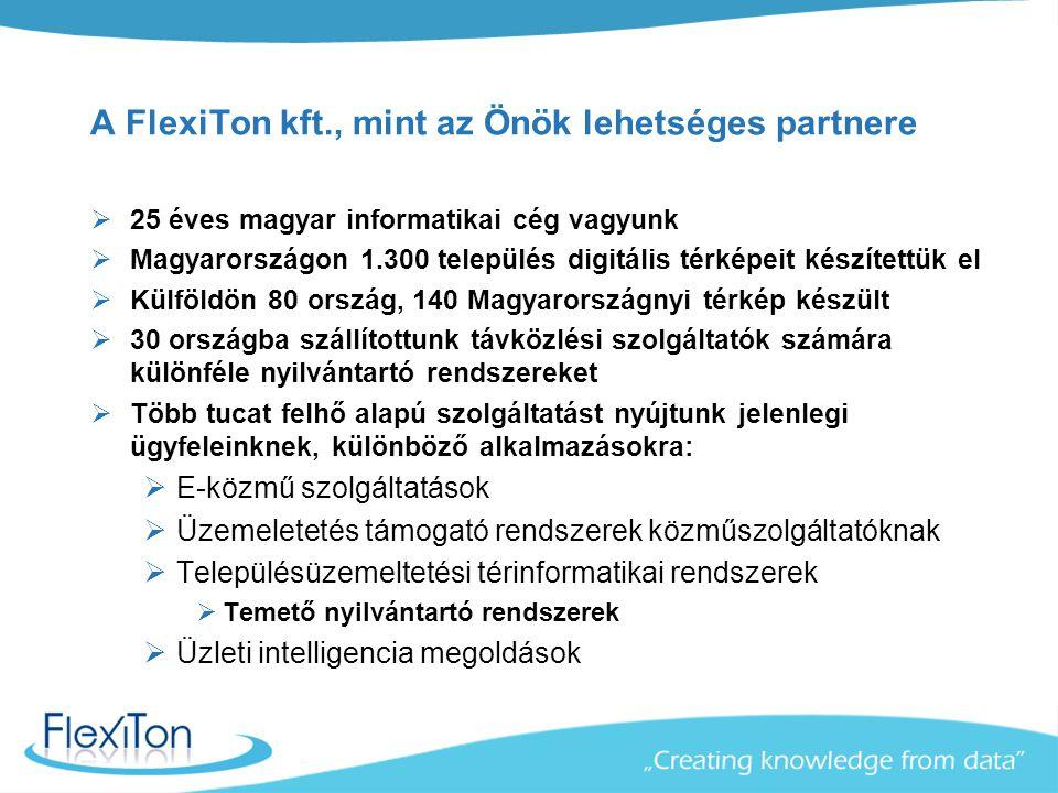 A FlexiTon kft., mint az Önök lehetséges partnere  25 éves magyar informatikai cég vagyunk  Magyarországon 1.300 település digitális térképeit készí