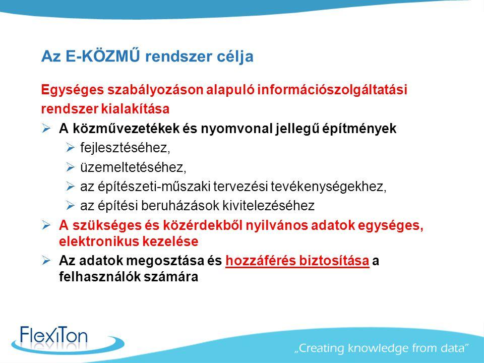 Az E-KÖZMŰ rendszer célja Egységes szabályozáson alapuló információszolgáltatási rendszer kialakítása  A közművezetékek és nyomvonal jellegű építmény