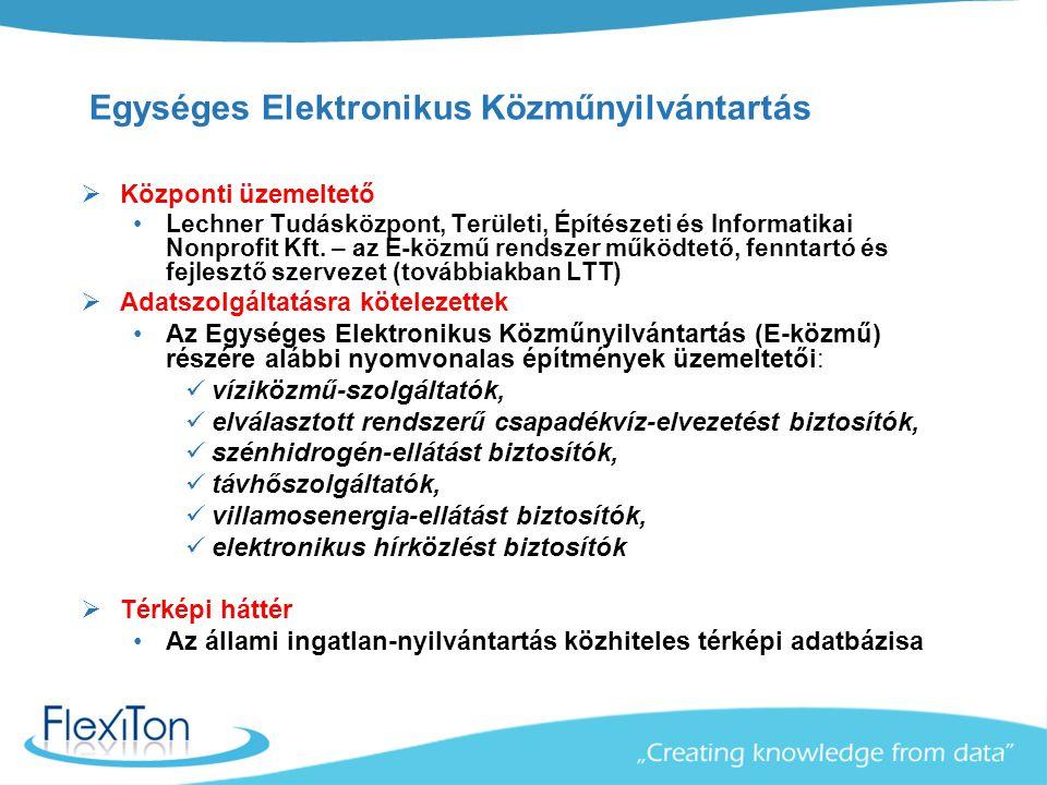 E-közmű + nyilvántartás saját célokra a TIR-rendszer Összegezve: Kötelező az E-közmű rendszer kilakítása Szinergia: egy egyszerű olcsó üzemeltetést támogató TIR rendszer http://ekozmu.flexiton.hu/