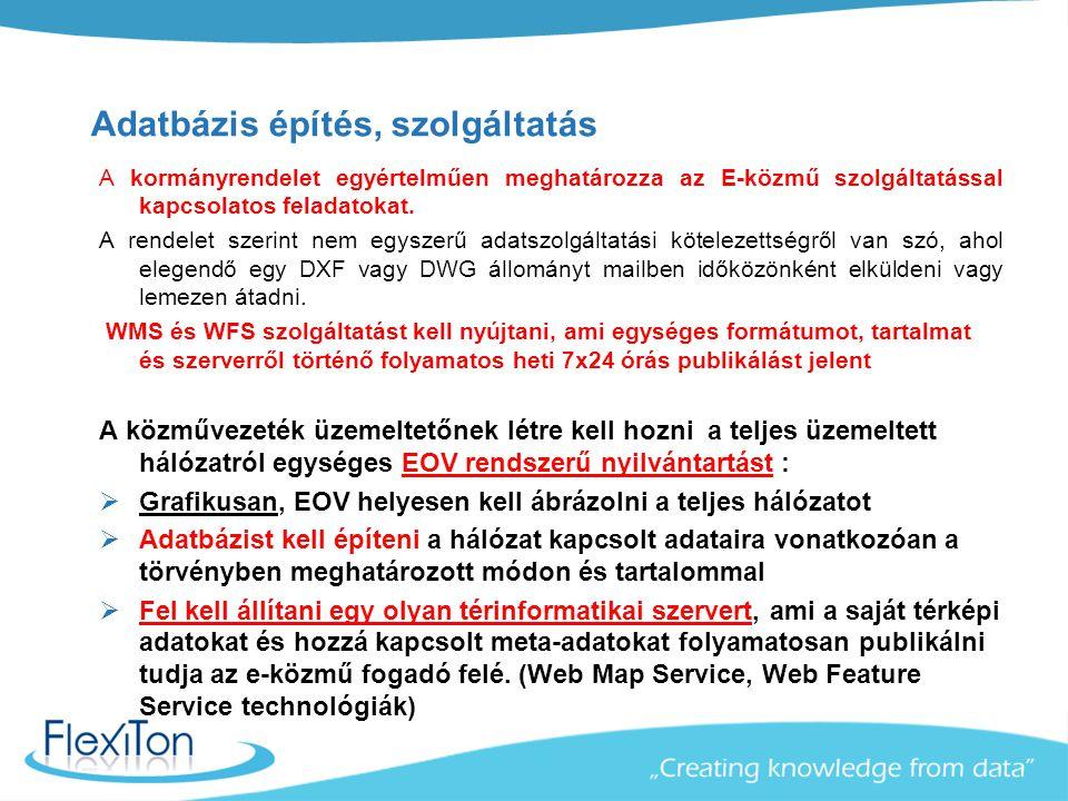 Adatbázis építés, szolgáltatás A kormányrendelet egyértelműen meghatározza az E-közmű szolgáltatással kapcsolatos feladatokat. A rendelet szerint nem