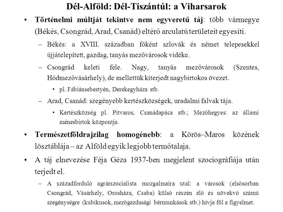 Történelmi múltját tekintve nem egyveretű táj: több vármegye (Békés, Csongrád, Arad, Csanád) eltérő arculatú területeit egyesíti. –Békés: a XVIII. szá
