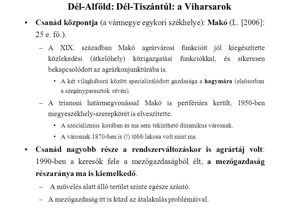Csanád központja (a vármegye egykori székhelye): Makó (L. [2006]: 25 e. fő.). –A XIX. században Makó agrárvárosi funkcióit jól kiegészítette közlekedé