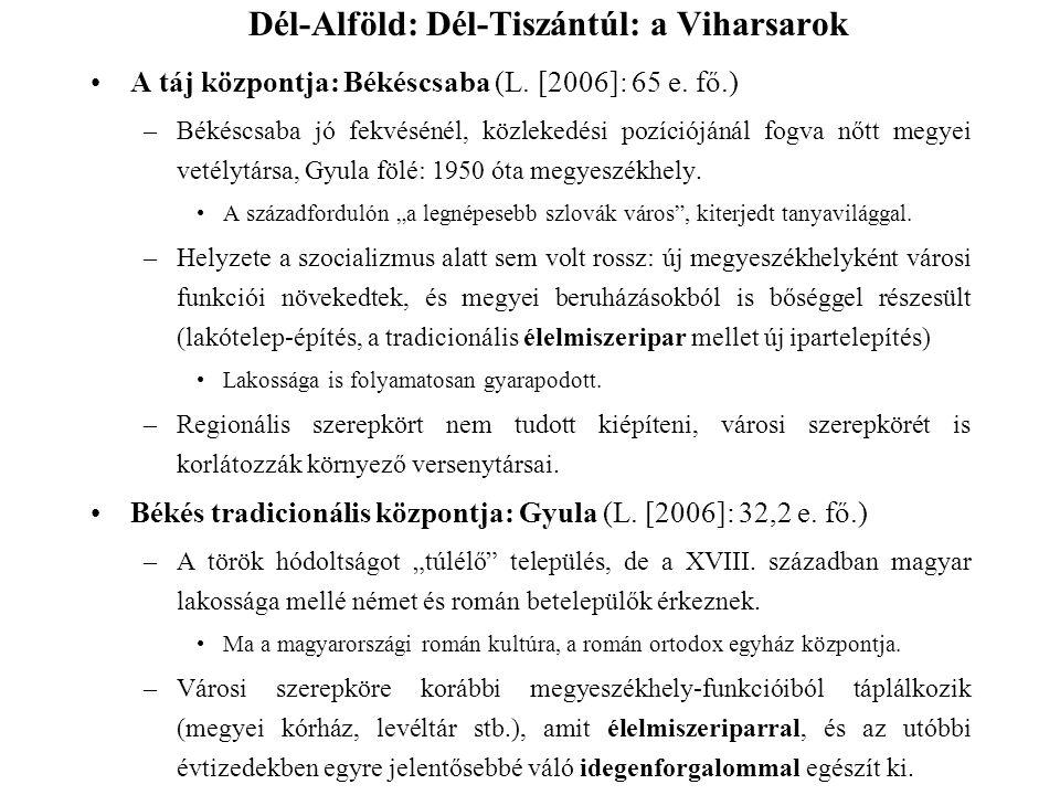 A táj központja: Békéscsaba (L. [2006]: 65 e. fő.) –Békéscsaba jó fekvésénél, közlekedési pozíciójánál fogva nőtt megyei vetélytársa, Gyula fölé: 1950