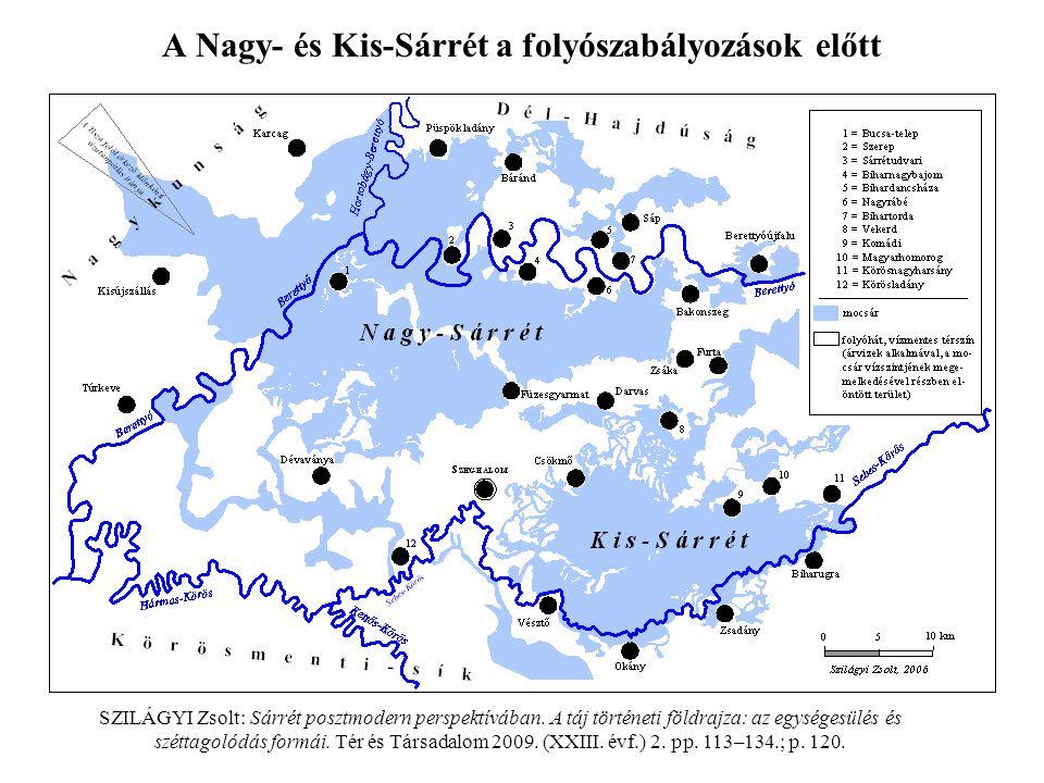 A Nagy- és Kis-Sárrét a folyószabályozások előtt SZILÁGYI Zsolt: Sárrét posztmodern perspektívában. A táj történeti földrajza: az egységesülés és szét