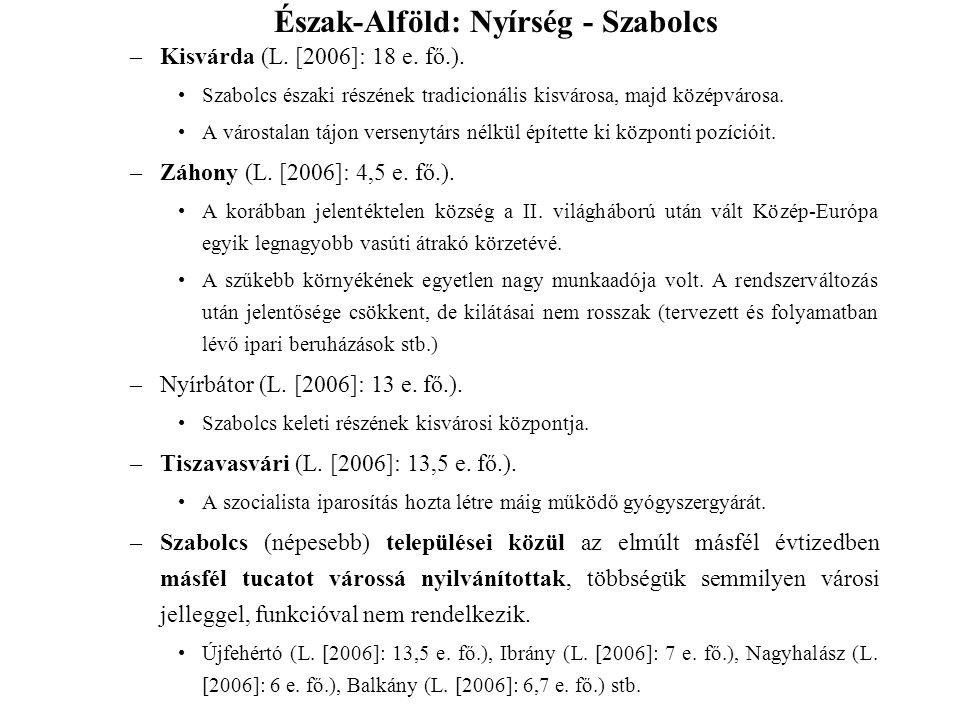 –Kisvárda (L. [2006]: 18 e. fő.). Szabolcs északi részének tradicionális kisvárosa, majd középvárosa. A várostalan tájon versenytárs nélkül építette k