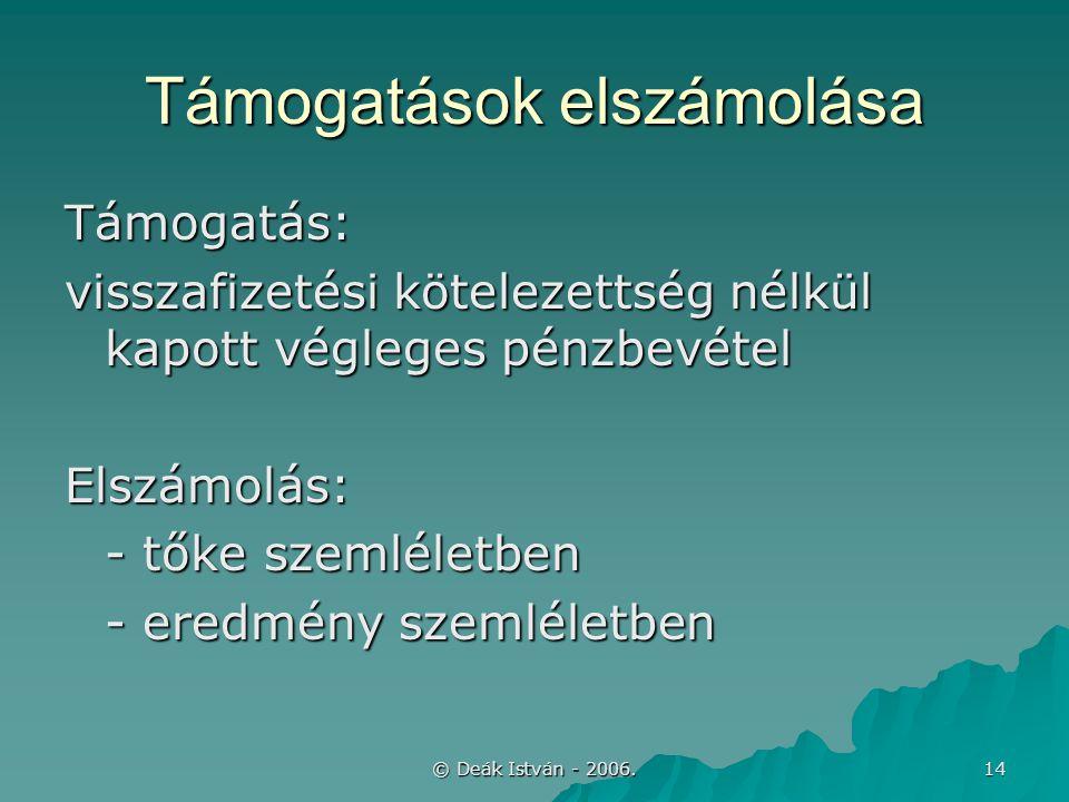 © Deák István - 2006. 14 Támogatások elszámolása Támogatás: visszafizetési kötelezettség nélkül kapott végleges pénzbevétel Elszámolás: - tőke szemlél