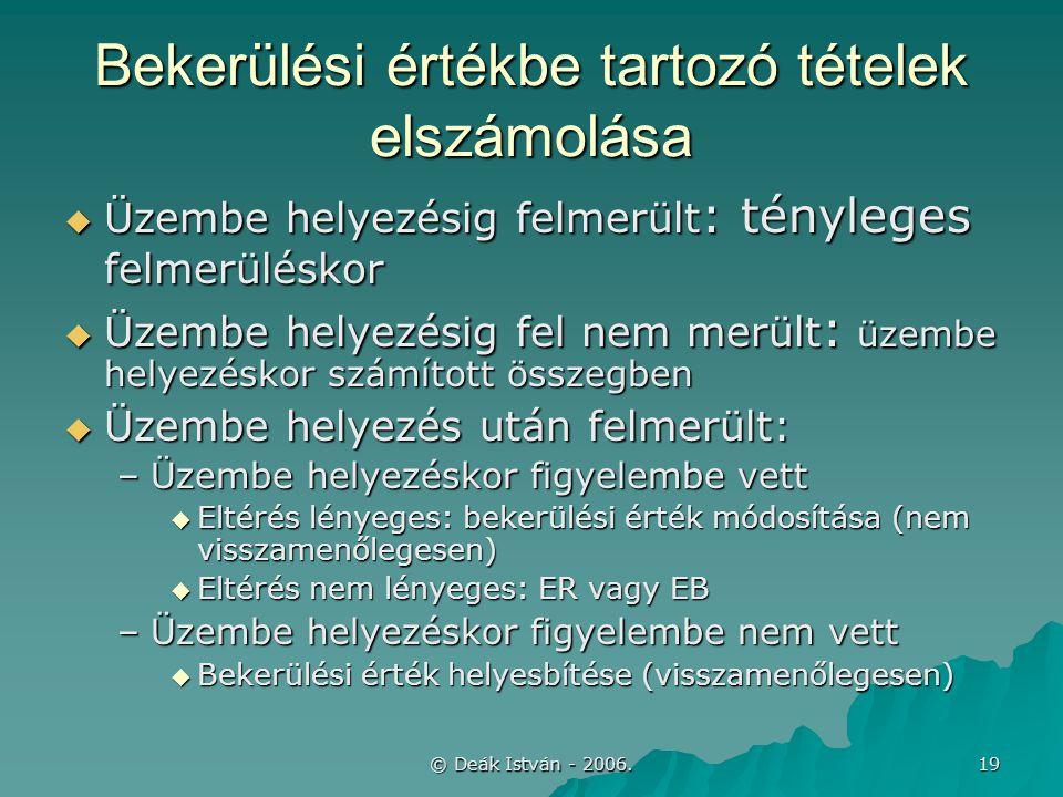 © Deák István - 2006. 19 Bekerülési értékbe tartozó tételek elszámolása  Üzembe helyezésig felmerült : tényleges felmerüléskor  Üzembe helyezésig fe