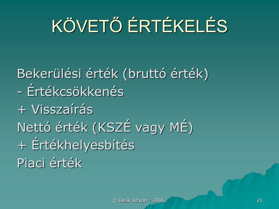 © Deák István - 2006. 21 KÖVETŐ ÉRTÉKELÉS Bekerülési érték (bruttó érték) - Értékcsökkenés + Visszaírás Nettó érték (KSZÉ vagy MÉ) + Értékhelyesbítés