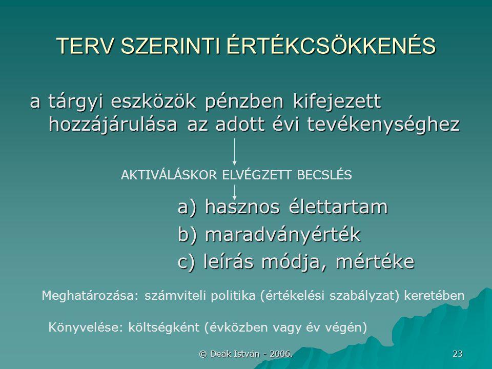 © Deák István - 2006. 23 TERV SZERINTI ÉRTÉKCSÖKKENÉS a tárgyi eszközök pénzben kifejezett hozzájárulása az adott évi tevékenységhez a) hasznos életta