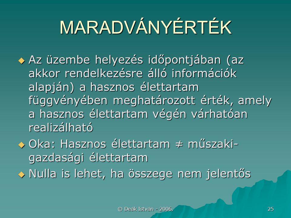 © Deák István - 2006. 25 MARADVÁNYÉRTÉK  Az üzembe helyezés időpontjában (az akkor rendelkezésre álló információk alapján) a hasznos élettartam függv