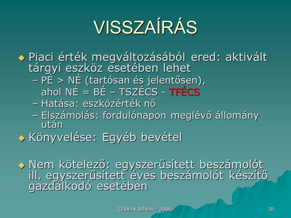 © Deák István - 2006. 30 VISSZAÍRÁS  Piaci érték megváltozásából ered: aktivált tárgyi eszköz esetében lehet –PÉ > NÉ (tartósan és jelentősen), ahol